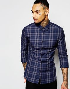 ASOS+Skinny+Shirt+In+Navy+And+Charcoal+Check+With+Long+sleeves