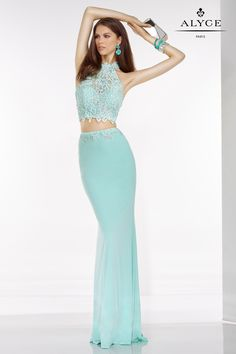 You will love this two piece lace halter top with back cutouts and a plain solid colored skirt.