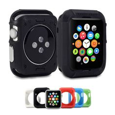 Soft silicon TPU + Aluminum Armor Case Fashion SG Logo Back Cover Shell Capa For Apple iWatch Smart digital Watch 42mm