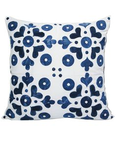 Graphic Blue Pattern Back Cushion Cover