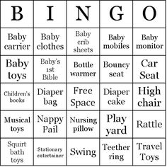 Baby Shower Gifts bingo card sample