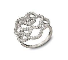 Swarovski Rhodium Plated and Crystal Pavé Flower Hortense Ring (John Greed) £79