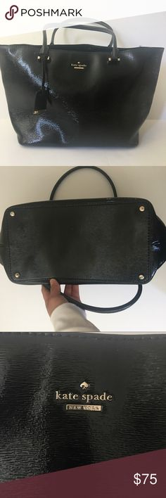 ♠️kate spade♠️ EUC Black patent leather tote bag Excellent condition and comes with dust bag. Bought recently here on PM. Would keep but didn't fit my needs for work. Selling a lot cheaper than what I bought it for. Hoping someone will find it useful! No visible marks tears or scratches!!! Please feel free to ask questions and present offers!! kate spade Bags Totes