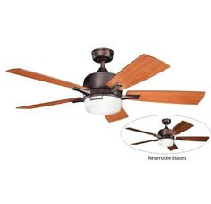 "View the Kichler Leeds 52"" Indoor Ceiling Fan with Blades, Light Kit, Downrod and Remote Control at LightingDirect.com."