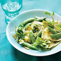 Ravioli with Snap Peas, Pea Shoots, and Minty Pea Shoot Pesto Recipe | MyRecipes.com