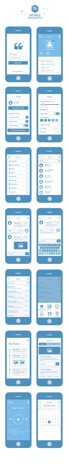 Free Wireframe Kit by prasad prechu, via Behance #mobile #app #wireframe