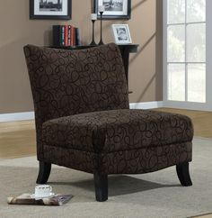 BROWN SWIRL FABRIC ACCENT CHAIR