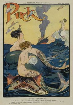 Mermaids Gossiping In The Sea - Puck Magazine Vintage Cover Poster                                                                                                                                                                                 More