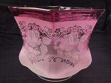 Victorian slightly opalescent vaseline cranberry oil kerosene lamp victorian cranberry glass oil lamp shade 4 mozeypictures Image collections