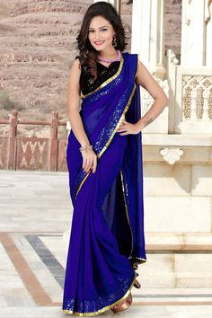 Designer Royal Blue and Black Chiffon and Georgette Resham  Embroidered Border Saree with Sequin Work