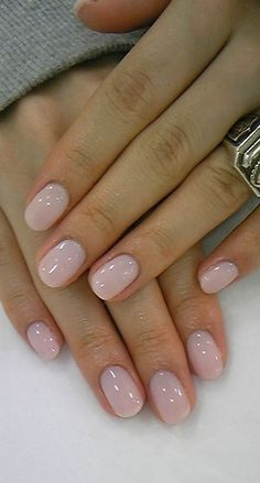 Gorgeous blush wedding day manicure.