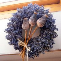My tři. Lavender Decor, Lavender Crafts, Lavender Wreath, Silk Flower Wreaths, Floral Wreath, Wedding Chapel Decorations, Corn Husk Wreath, Deco Floral, Flower Farm