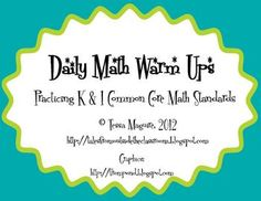 K/1 Common Core Math Standards review pack