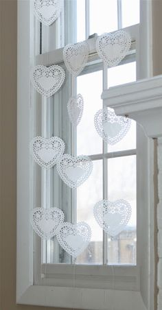 vday decor - doily heart window