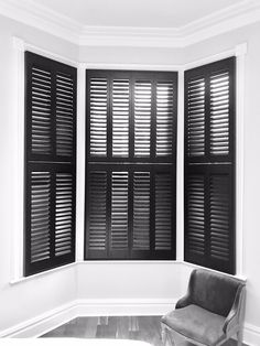 Our focus on in design continues with these black tier on tier shutters from As well as their own standard colour palette, they can match any colour you desire with our custom colour service. White Shutters, Window Shutters, Blinds For Windows, Black Walls, White Walls, Black Blinds, Dark Doors, Home Decor Inspiration, Home Remodeling