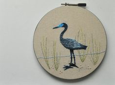 The Little Blue Heron  Embroidery Hoop Wall Art  by whatnomints