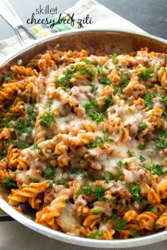 This all-in-one beef ziti is made entirely in the skillet and whips up in 30 minutes flat! Your family will love how hot and cheesy it is