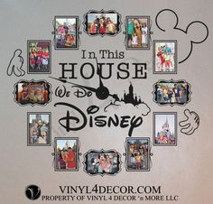 In this house we do disney 4 x 6 or 5 x 7 photo clock with working clock parts/hands decal large wall clock CL333