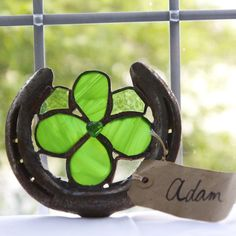 Lucky horseshoe with stained glass clover insert (Charity fu
