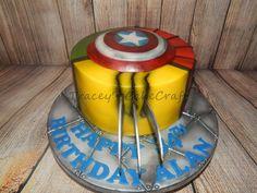 Wolverine.   Simple Marvel super hero cake.
