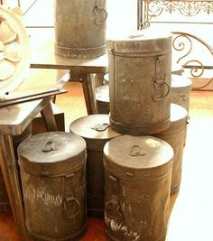 #industrial #zinc metal #candy pails from a #french factory. Purchased a few from my former neighbor, #rosegardenantics. Useful as #storage for #petfood or as planters!