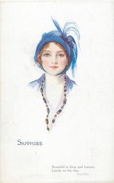 """Sapphire"" ~ 1921 postcard by Marjorie Mostyn from the 'Jewel Girls' series"