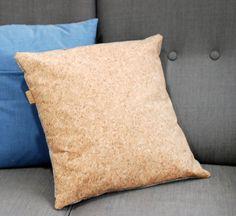 Cork Decorative Pillow, Square Throw Pillow, Cushion, Unique Boho Brown / Jeans…