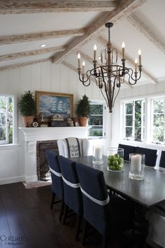 Use Blue Hues To Get A Coastal Look Cottages Home Decoration Ideas Dining Room FireplaceDining