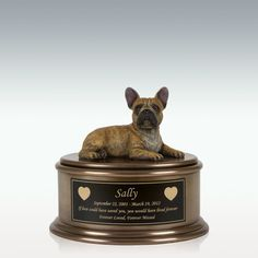 French Bulldog Figurine Cremation Urn - Engravable Pet Ashes, Cremation Urns, Memorial Stones, Custom Engraving, Pet Memorials, French Bulldog, Ears, Memories, Resin