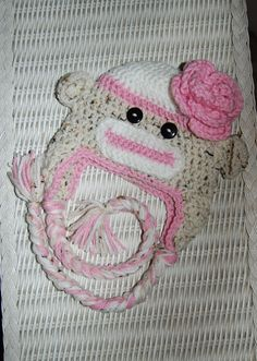 Pink and White Sock Monkey Hat (item sold on facebook)