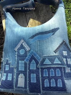Artisanats Denim, Denim Purse, Patchwork Bags, Quilted Bag, Denim Patchwork, Denim Quilt Patterns, Blue Jean Quilts, Diy Bags Purses, Bag Pattern Free