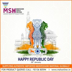 """"""" Happy Republic Day - Be United As a Nation """" ---------------------------------------------------------------------------- #HappyRepublicDay #RepublicDay #26January Montessori Supply Haryana #Gurugram ---------------------------------------------------------------------------- www.mshonliine.in I +91 92136 80594 Montessori Materials, Republic Day, First They Came, The Unit, Happy, Ser Feliz, Being Happy"""