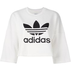 Adidas Originals bonded lace crop sweatshirt (1.660 ARS) ❤ liked on Polyvore featuring tops, hoodies, sweatshirts, shirts, crop top, sweaters, adidas, white, white lace top and white 3 4 sleeve shirt