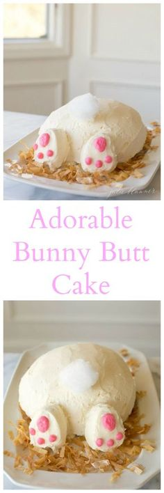 Bunny butt cake - easy Easter dessert recipe: might need a pile of whoppers or raisinettes next to it for our family! Easy Easter Desserts, Easter Treats, Easter Recipes, Holiday Desserts, Holiday Treats, Holiday Recipes, Easter Cake, Easter Food, Cupcakes