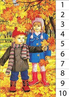 математически пъзели на сюжетни картини, посветени на есента. С тях затвърждаване уменията за броене (за напредналите можем да предложим сглобяването на пъзелите в обратен ред) Pre Reading Activities, Fall Preschool Activities, Fallen Book, Autumn Crafts, Math For Kids, Autumn Inspiration, Fall Decor, Kindergarten, Puzzles