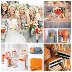 Tangerine Orange and Grey Wedding Board.. Have you seen the new UT football uniforms, all you brides ( and grooms) out there ?