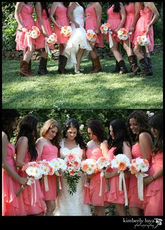 Coral wedding flowers, gerber daisy bouquets... Not liking the boots but love the dresses and flowers!