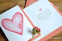 The outside of this card has a watercolored heart with a little heart shaped piece missing from it to symbolize the piece of a parents heart that goes missing when a child goes on to heaven. // by thelovelybeebylaurel on etsy // $1 from the sale of each card goes to benefit Now I Lay Me Down To Sleep