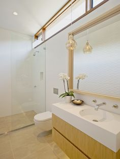 Modern Bathroom Design With Wood Floating Vanity And White Sleek Sink And White Wall Hung Toilet And Glass Shower Stalls Ideas: Middle Harbour House in Sydney by Richard Cole Architecture Textured Tiles Bathroom, Architecture Design, Harbor House, Bathroom Photos, Bathroom Ideas, Shed Homes, White Sink, Bathroom Collections, White Bathroom