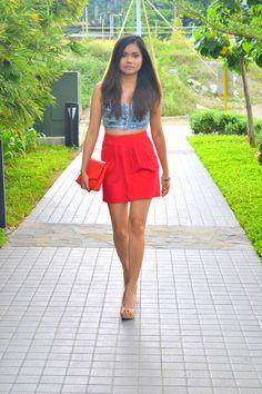 Denim bustier, high waisted skirt, clutch, nude heels, summer outfit, summer look