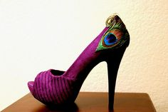 I wanted purple heels for the wedding... i don't know about peacock heels.. but.... these are amazing!