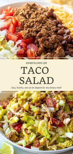 Easy Taco Salad Recipe, Taco Salad Recipes, Chicken Pasta Recipes, Healthy Salad Recipes, Mexican Food Recipes, Beef Recipes, Real Food Recipes, Healthy Food, Salad