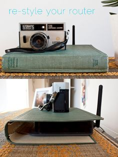 Being wirelessly connected to the Internet sure requires a lot of wires, huh? Ana Maria Munoz hid her router in a vintage book cover, and doesn't find that it interferes with her signal. Get the tutorial here »  - GoodHousekeeping.com