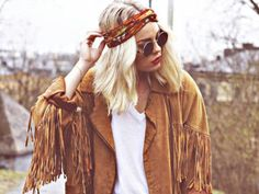 Possible suede fringe jacket - could use my vintage one - use head scarf and long printed maxis to add colour & texture; lots of silver jewellery