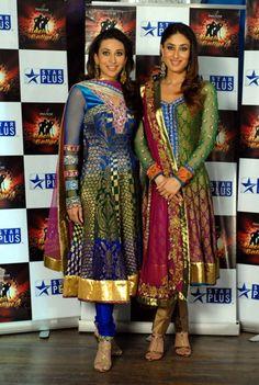 Karisma and Kareena in beautiful anarkali suits.