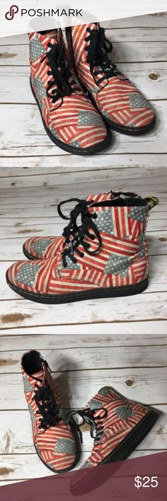 Dr Martens Marley Boots Dr. Martens Red & Blue American Flag Marley Boots Size 3  Durable canvas stands up to adventures on the playground and beyond, while a patriotic print gives this boot eye-catching appeal. Lace-up / zip closure Canvas upper Textile lining Rubber sole Imported Dr. Martens Shoes Boots