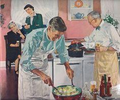1950s Illustration Of Men Cooking.