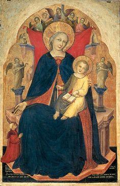 Nicolò di Pietro, Madonna col Bambino in trono, angeli musicanti e il committente Vulciano Belgarzone di Zara | Gallerie dell'Accademia di Venezia