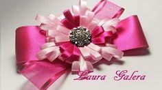 Moño con flor en cinta angosta Ribbon flower bow Laço de fita Laura Galera - YouTube
