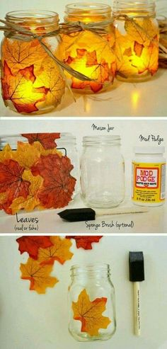 DIY candle holders,  home decor,  halloween, thanksgiving,  or just fall decor.  What you'll need:  1. Jar,  bowl,  any glass of your choice. 2. Mod podge 3. Fall colored leaves (can be found at Michels, hobby lobby, walmart,  or joanne fabrics) 4. Sponge paint brush